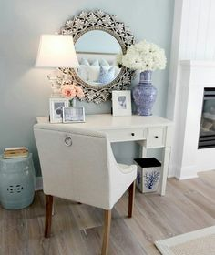 #shabbychic #bluewalls French chic with a twist of ivory, white and soft pink.