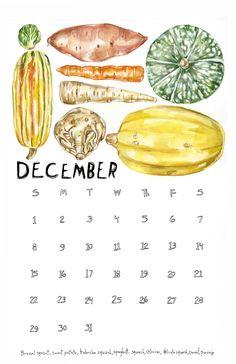 2013 'eat Local' Produce Calendar from Maria Schoettler Illustration