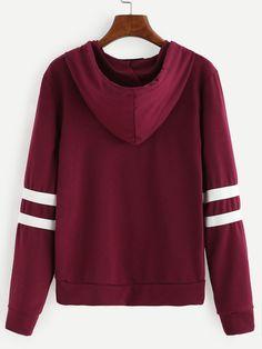 Burgundy Varsity Striped Drawstring Hooded Sweatshirt -SheIn(Sheinside)