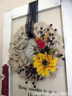 Gorgeous fall wreath - love the addition to the burlap DIY wreath! Burlap Projects, Burlap Crafts, Wreath Crafts, Craft Projects, Burlap Bubble Wreath, Burlap Wreath Tutorial, Burlap Wreaths, Grapevine Wreath, Diy Fall Wreath