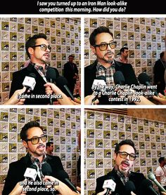 Robert Downey Jr. interviewed at San Diego Comic Con 2012. His face! It makes me laugh :)