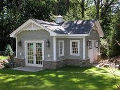gable vents Garage And Shed Traditional with cross gable roof cupola french doors grass Shed Design, House Design, Building Design, Roof Design, Building Plans, Shed Plans, House Plans, Plan Garage, Garage Shed