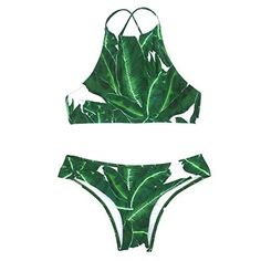 Cupshe Fashion Womens Forest Leaves Printing Tank Padding Bikini Set M >>> You can find more details by visiting the image link.