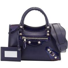 Balenciaga Giant 12 Veau Lisse Mini City Bag ($1,465) ❤ liked on Polyvore featuring bags, handbags, purple, accessories handbags, blue purse, purse, mini handbags and leather handbags