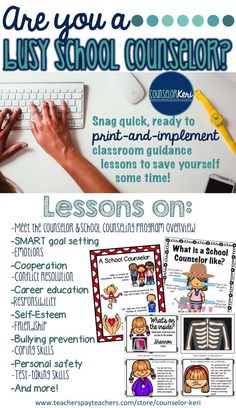 Classroom guidance lessons ready to print and implement for the busy school counselor! -Counselor Keri