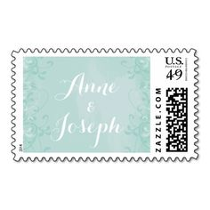 Mint and Lace Wedding Postage
