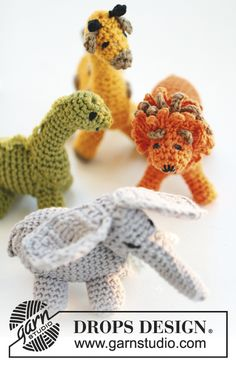 """Crochet DROPS dinosaur in """"Safran"""". ~ DROPS Design"""