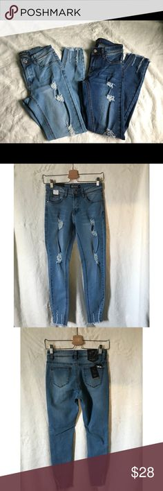 """""""Take Me Home"""" Light Blue Jeans Light blue Denim Jeans. All jeans com with original tags Wearing size 11 Push up Mid rise Tight at knee  Ripped jeans Great quality  Also available in Dark Blue Denim ✨FINAL SALE✨ ✨NO REDUNDS✨ TopFashionBoutique Jeans Skinny"""