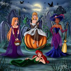 Halloween Princesses ~ I like the headstones in the background with the villains name on them