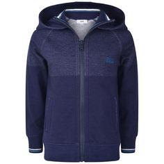 BOSS Boys Navy Jersey Zip Up Top With Hood