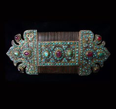 Uzbekistan | Old Silver, gilt silver, turquoise and amethyst comb. Bukhara | POR