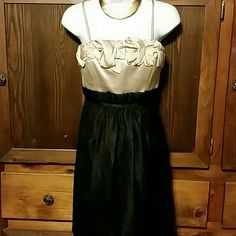 BCBG PARIS Dress BCBG PARIS Black and Taupe Dress with Tee Straps, Ruffles and 2 Pockets on Front of Dress. Very Classy. Size 2 BCBG Dresses
