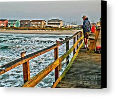 Pier Fishing 2 Canvas Print by Scott Hervieux.  All canvas prints are professionally printed, assembled, and shipped within 3 - 4 business days and delivered ready-to-hang on your wall. Choose from multiple print sizes, border colors, and canvas materials.