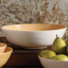 Large White and Natural Sumatra Bamboo Bowl by HomArt - Seven Colonial