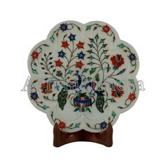 Marquetry Wall Plate White Marble Inlay Wall Plate With Peacock Design Indian Traditional Inlay Art Work For Home Decor Wall Decor Art Piece Green Marble, White Marble, Marble Wall, Peacock Design, Marquetry, Pen Holders, Mother Pearl, Wall Plaques, Plates On Wall