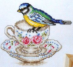 Susan Bates BIRDS & TEACUPS - British Counted Cross Stitch Pattern Chart - Great Britain England. $4.75, via Etsy.