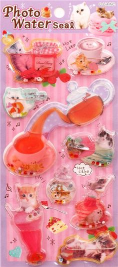 kawaii cat coffee animal color water capsule stickers $4.15 http://thingsfromjapan.net/kawaii-cat-coffee-animal-color-water-capsule-stickers/ #kawaii Japanese sticker #cute Japanese sticker #kawaii cat sticker