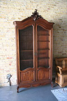 louis-xv-walnut-rococo-bookcase-- i like the shapes, not the ornate crap. Use a router