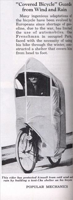 """""""Covered Bicycle"""" Guards from Wind and Rain 