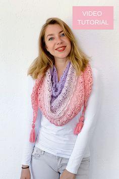 Ravelry: Flower Puff Shawl pattern by Wilma Westenberg Crochet Scarves, Crochet Shawl, Free Crochet, Knit Shawls, Crochet Flower, Crochet Crafts, Crochet Triangle, Triangle Scarf, Flower Patterns