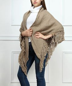 Take a look at the Beige Ribbed Fringe Shawl on #zulily today!
