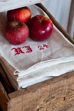 embroidered linen tea towels