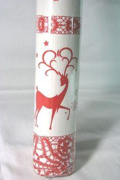 Tovaglia carta bianca deco Renne Rosse. Rotolo lungo 5 mt H.1,20 mt Two Deers Red. Usa e getta. Disponibile da C&C Creations Store