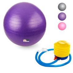 Proworks Anti-Burst Exercise Ball 65cm / 25.5' Heavy Duty Fitness Ball with Pump (Purple) * You can get more details by clicking on the image.