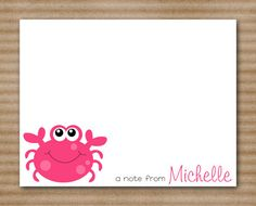 Crab Card Note Cards Personalized set of 8 by PaperHouseDesigns, $12.00