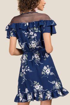 Reagan Swiss Dot Floral Wrap Dress | francesca's