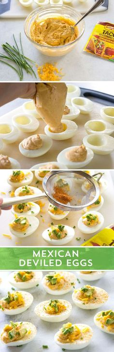 Ready for a party snack that will score big with your hungry crowd? These Mexican Deviled Eggs from /GirlWhoAte/ are perfect for your party! Made with just 5 ingredients. loaded with Mexican flavor, and ready in just 10 minutes - these deviled eggs are sure to be a hit!
