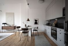 Small Scandinavian-Style Apartment by Nouvel Interior Scandinavian Style, White Wall Paneling, One Bedroom Apartment, Dining Room Inspiration, Home Decor Pictures, Loft Spaces, Contemporary Furniture, Dining Area, Furniture Design