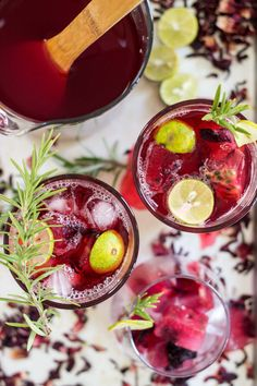 Hibiscus Passion Fruit Ice Tea with Rosemary | Summer drinks | Dear Kitchen | #vegan