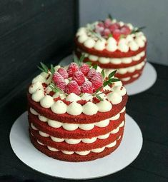Looks like red velvet with whipped cheese cake filling and f.- Looks like red velvet with whipped cheese cake filling and fruit Mini Cakes, Cupcake Cakes, Cake Cookies, Cake Fondant, Bolo Red Velvet, Red Velvet Cakes, Bolos Naked Cake, Nake Cake, Cheese Cake Filling