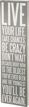 Live your life. take changes. be crazy don't wait because right now is the olderst y ou've ever been and the youngest you'll be ever again. Primitives by Kathy Live Your Life.jpg