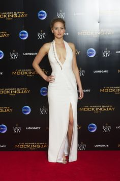 The Hunger Games: Mockingjay Part 1 London Premiere After Party, 2014 This plunging white gown for the first Mockingjay afterparty was one of Jennifer's most iconic looks.