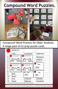 Compound Words, Thematic Units, Word Puzzles, Mega Pack, Home Candles, Reading Activities, Upper Elementary, Word Work, Literacy Centers