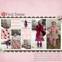 #papercraft #scrapbook #layout  First Snow...Winter Layout