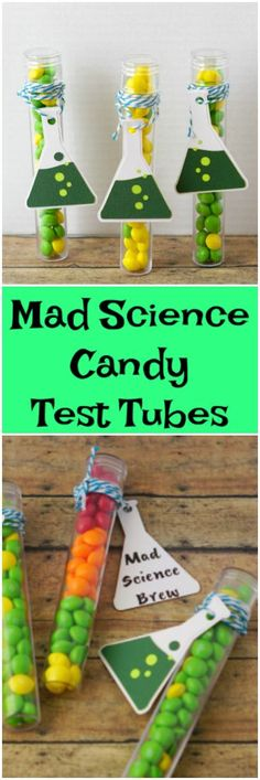 Mad Science Candy Test Tubes -learn how to make these party favors for Halloween or for your next Mad Science birthday party! Mad Science Party, Mad Scientist Party, Party Food Themes, Birthday Party Themes, Ideas Party, Spy Party, 7th Birthday, Birthday Ideas, Science Crafts