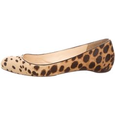 Pre-owned Christian Louboutin Ponyhair Round-Toe Flats ($295) ❤ liked on Polyvore featuring shoes, flats, animal print, tan shoes, christian louboutin shoes, flat pumps, pony hair flats and christian louboutin flats
