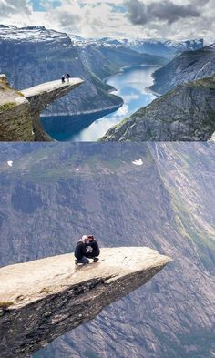 They hiked to the top of Trolltunga in Norway to see the view, when he proposed on the edge of the cliff!
