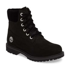 Women's Timberland 6-Inch Premium Boot (1.385 NOK) ❤ liked on Polyvore featuring shoes, boots, black nubuck, kohl shoes, nubuck leather boots, lug sole boots, waterproof shoes and timberland boots