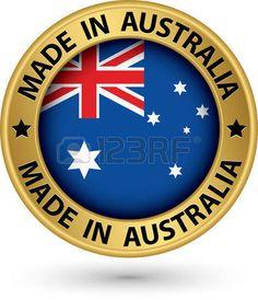 Hecho en Australia la etiqueta de oro, ilustración vectorial