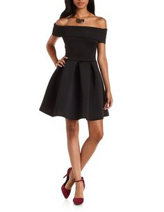 Black Off-the-Shoulder Scuba Skater Dress by Charlotte Russe