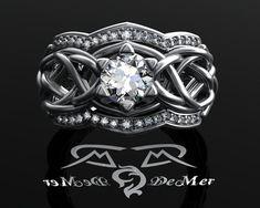 Unique Celtic knotwork elvish engagement ring. by DeMerJewelry