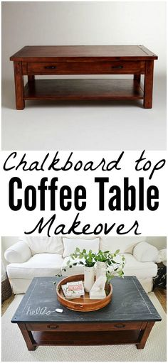 Chalkboard Top Coffee Table Makeover -