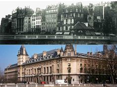 Quai des Orfèvres et pont Saint-Michel. Les travaux d'agrandissement du Palais de justice firent disparaître tout un ensemble de maisons anciennes. Parmi celles-ci, l'officine de Sabra, l'arracheur de dents du Paris populaire.