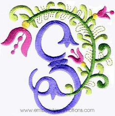 Floral Alphabet Embroidery Designs