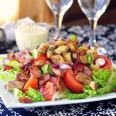 BLT Salad with Creamy Dijon Dressing and Garlic Herb Butter Croutons by Rock Recipes