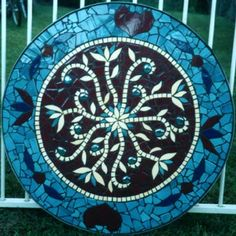 Indian Flowers mosaic table in ceramic tiles by Brett Campbell Mosaics